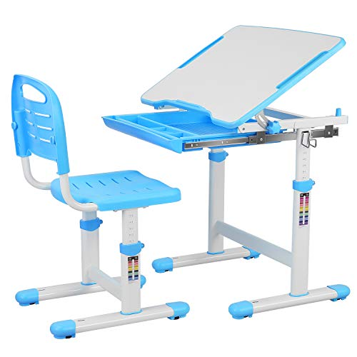 POTBY Kids Desk and Chair Set, Height Adjustable Children Study Table Students Interactive Workstation, with Wood Tiltable Anti-Reflective Tabletop and Pull-Out Drawer for School Boys & Girls (Blue)