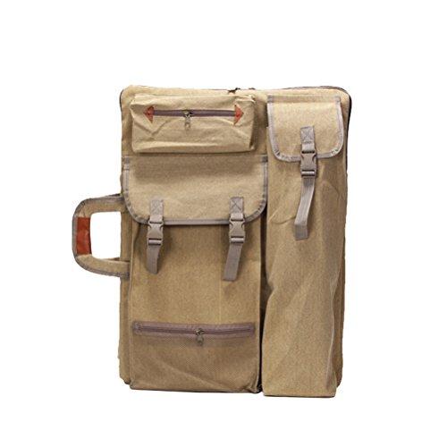 Healifty Art portfolio borsa custodia zaino da disegno a spalla con cerniera spallacci per pittore studenti opera (cachi)