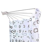 Hershii - Asta pieghevole per tenda da doccia, in acciaio inox, a forma di ventaglio, per montaggio a parete, curva, per bagno, doccia