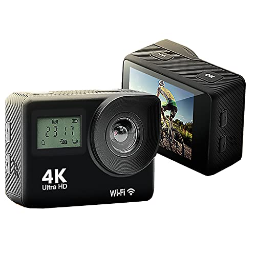 Action CAM 4K / 60fps / Action Camera 20MP WiFi EIS 30M Cámara subacuática Zoom Control Remoto Kit de Accesorios Cámara Deportiva