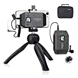 Comica CVM-WS50(C) Professional UHF 6-Channels Phone Wireless Lavalier Microphone System with Mini Tripod, Wireless Lav Lapel Microphone for iPhone X,11 Pro,12 Samsung Android Smarthones/Cameras etc.