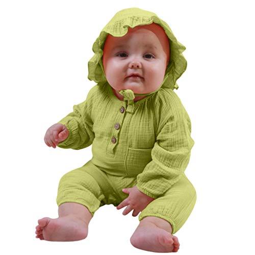Weilov Infant Bébé Garçons Filles Manches Longues Combi-short + Combinaisons De Chapeau Ensembles Combinaison Chaude Combinaison-short confortable