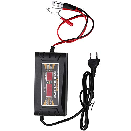 HLPIGF Cargador De Batería De Coche del Enchufe De La UE 12V 6A 10A Inteligente Completo Automático Auto Inteligente De Carga De Energía Rápida para Pantalla LCD Húmeda y Seca