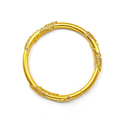 Sólido brazalete de las mujeres de la vendimia pulsera femenina de la joyería de Dubai 18k chapado en oro