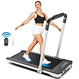 beachey Folding Treadmills, 2in1 Under Desk Treadmill for Home Office Gym Small Spaces Jogging Running Machine with Remote Control, Bluetooth Speaker and LED Display, Installation-Free 2020 Model