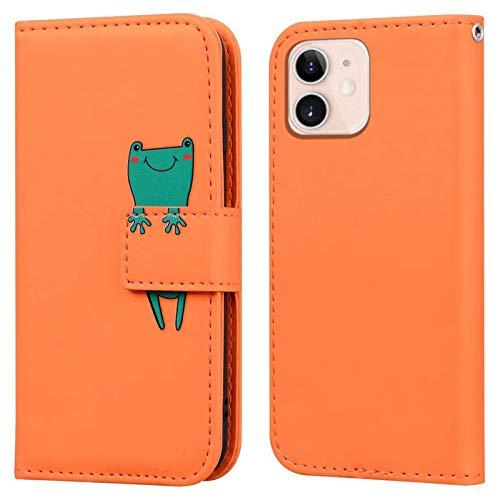 Ailisi iPhone 12 Mini Hülle, Karikatur Grün Frog Muster Leder Handyhülle Brieftasche Schutzhülle Leder Flip Hülle Wallet Cover Klapphüllen Tasche Etui mit Kartenfächern+Stand -Frosch, Orange