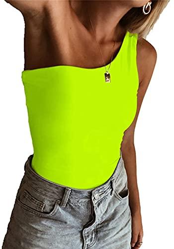 PLOK Body básico para mujer de manga corta con un hombro. verde neón L