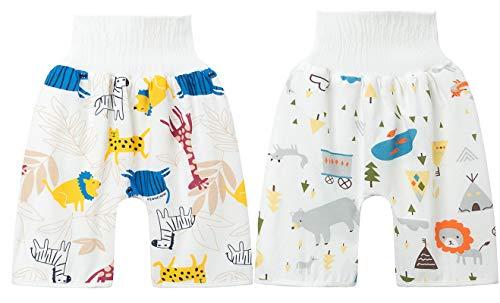 OUHO 2 Stück Baby Windelrockshorts Windel Wasserdicht hoher Taille Trainingshose Sleepy Lernhose Shorts Töpfchen Bär+Giraffe L(4-8 Jahre)