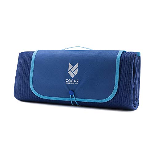 CGEAR Sandlite – Patented Sand-Free Beach Mat – Multi Use Outdoor Camping Mat, Picnic Blanket, Exercise Stretching Mat – Rollup Compact –Great for Families – Navy Blue - Medium