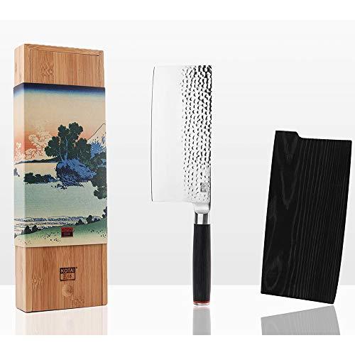 KOTAI - Mannaia cinese (coltello da macellaio) - Lama giapponese in acciaio inox martellato, 19 cm, manico in legno pakka, fatto a mano. Taglia verdure, carne e ossa