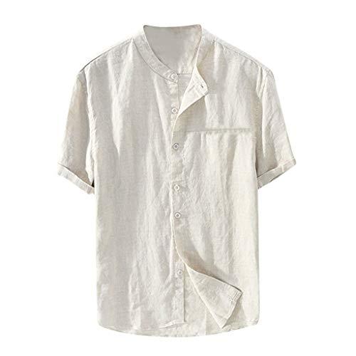 Yowablo T-Shirts Tops Hommes Baggy Coton Lin Couleur Unie À Manches Courtes Chemisier Rétro (3XL,Kaki)
