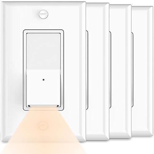 4Pack-SOZULAMP Illuminated Wall Light Switch-Single Pole,Decora Paddle Rocker Light Switch with LED Night Light,15 Amp 120V/277V,3 Wire,Dusk to Dawn Sensor,White,NO Wall Plates(Warm White LED)