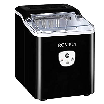 ROVSUN Ice Maker Machine Countertop, Make 26lbs Ice in 24 Hours, Compact & Portable Ice Maker with Ice Basket for Home, Office, Kitchen, Bar (Black)