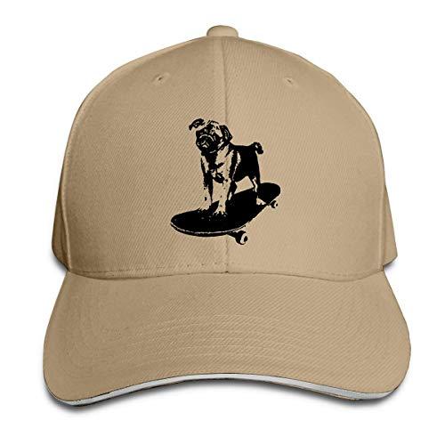 Fantasy Town Baseballmütze Skateboard Mops Welpen Hund Hund Baumwolle Papa Hut verstellbare Modekappen