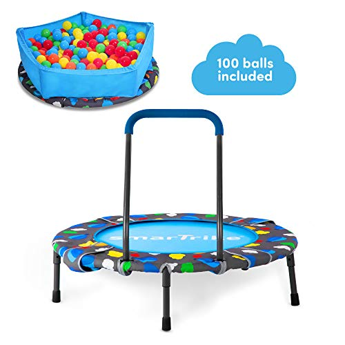 smarTrike Indoor Toddler Trampoline with Handle, Ball Pit with 100 Balls Included, Foldable Kids...