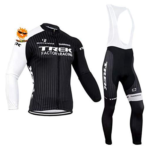 ADKE Inverno Abbigliamento Ciclismo Set, Bicicletta Maglia Manica Lunga e Pantaloncini Lunghi per Bicicletta