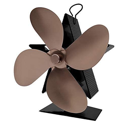 ZGNB Chimenea navideña 4 aspas Ventilador de Estufa de Calor Quemador de leña Ventilador de Chimenea Distribución de Calor eficiente Bronce