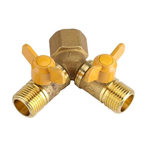 2-weg tap-adapter, G1/2 messing 2-weg ventiel waterverdeler, dubbele kraanaansluiting, voor tuinslangen