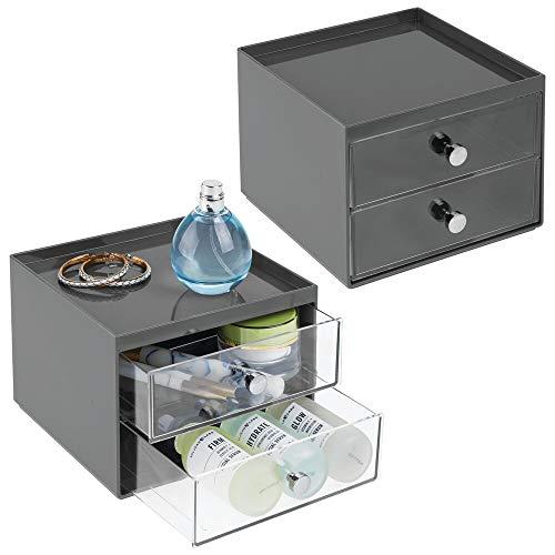 mDesign Set da 2 Cassettiera in plastica resistente – Mini cassettiera per cosmetici con due scomparti – Elegante porta cancelleria con manici cromati – antracite/trasparente