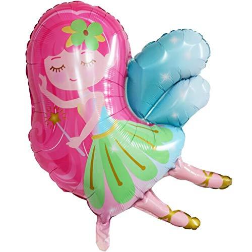 DIWULI, Fee Luftballon, Folien-Luftballon süß, Geburtstagsballon, Folien-Ballon pink weiß für Geburtstag, Mädchen Kindergeburtstag, Motto-Party, Dekoration, Geschenk-Deko, Geburtstags-Deko, Zauber