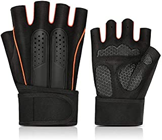 TOOGOO Half Finger Gloves Fitness Wristbands Sports Outdoor Men and Women Riding Non-Slip Weightlifting Power with Dumbbells Exercise Breathable Gloves Orange L