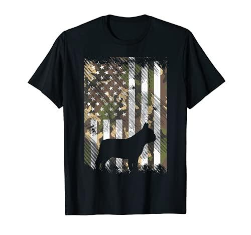 Camo US Flag French Bulldog Frenchie Patriot Dog Lover Gift T-Shirt