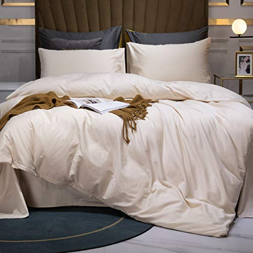 MOOMEE Duvet Cover Set 100% Egyptian Cotton Luxury Solid Bedding Linen 800 Thread Count Long Staple Sateen Super Soft Breathable (King, Beige)