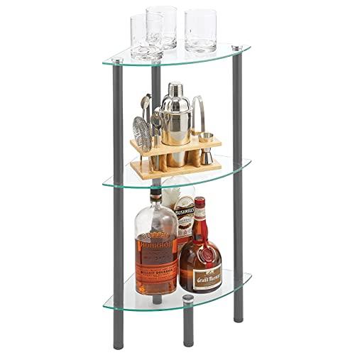 mDesign Moderna estantería de baño – Organizador de baño de Cristal con Tres baldas – Elegante Estante esquinero para baño, despacho o salón – Transparente y Gris Oscuro