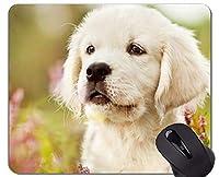 Mousematマウスパッド、ペットの子犬犬の黄金の髪-ステッチエッジ 18x22cm