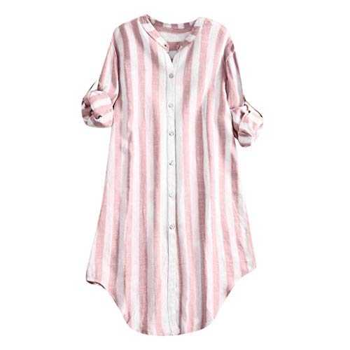 Xinantime Womens Casual Button Up Pullover Cotton Striped Top Plus Size Tunic Blouse (Pink,XXXXXL)