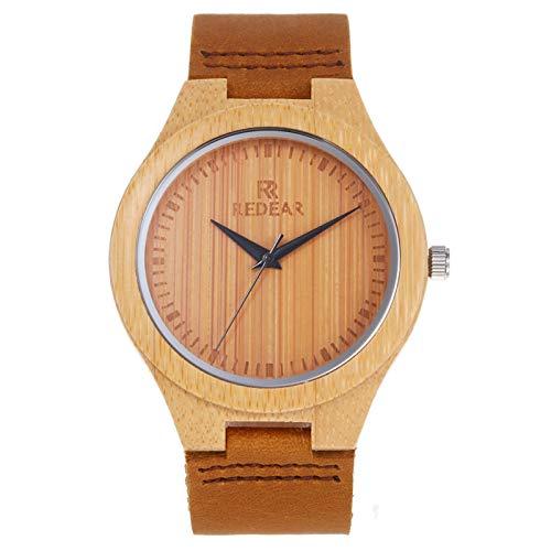Festnight Damen Bambus Holzuhr Holzuhr mit Lederarmband Analog Quarz Leichte Freizeituhren Armbanduhr