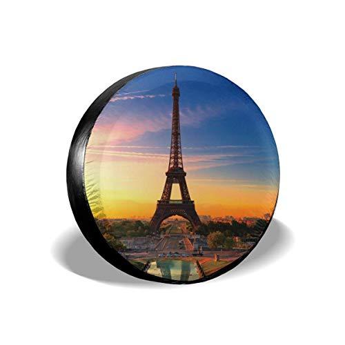 LYMT Paris, autobandafdekking Eiffeltoren, polyester, draagbaar, reservewiel, universele wielafdekking voor banden, voor SUV vrachtwagen aanhanger 14 – 17 inch