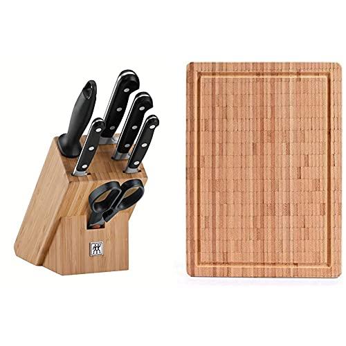 ZWILLING Messerblock, 7-tlg., Bambusblock, Messer und Schere aus rostfreiem Spezialstahl/Kunststoff-Griff, Professional S & 30772400 Schneidbrett, Bambus, groß