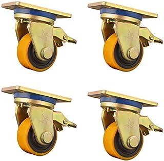 Wielen/wieltjes, oranjekleurige polyurethaanrollen, druklagers, 4 wielen met een draagvermogen van 3 ton, met stuurwielrem.