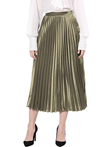 Allegra K Women's Zip Closure Accordion Pleated Metallic Midi Party Skirt Army Green X-Small