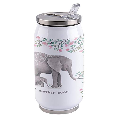 Vacuum Insulated Water Bottle Spring Love, Elephant Best Mother Ever Double Wall Stainless Steel Commuter Water Bottle Leak Proof Wide Mouth Durable Portable Kids Cup, 10oz
