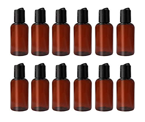 ljdeals 2 oz Amber PET Plastic Refillable Bottles with Black Disc Top Caps, Pack of 12, BPA Free, TSA Approved, Made in USA