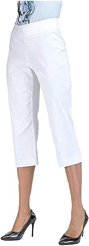 Women S High Waist Straight Leg Pant Ladies Solid Casual Skinny Trousers Capri Tummy Control Pants