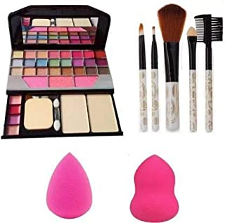 Angelie 6155 Make up Kit, 5 Pieces Makeup Brush , 2 Pc Blender Puff Combo