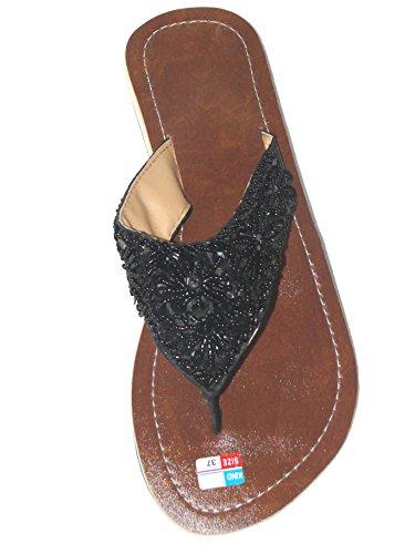Damen Flip Sandale Fairy Star Zehenpantolette Sommersandale Zehenstegsandale mit Pailletten und Perlen in Creme-Weiss und schwarz