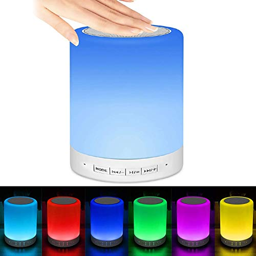 Luces nocturnas Altavoz Bluetooth, Lamparas de Mesita de Noche, USB lámpara de noche Lámpara LED de control Táctil Regulable Luces cálidas 7 colores, Lámpara de cabecera con Altavoz Bluetooth