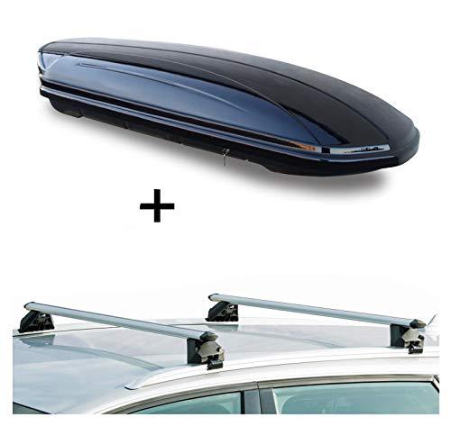 Dachbox VDPMAA320 320Ltr abschließbar schwarz + Dachträger CRV107A kompatibel mit Volvo XC60 (5 Türer) 2008-2017