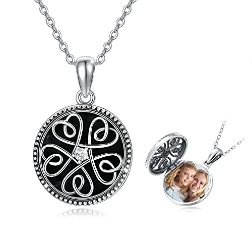 Celtic Knot Locket Necklace That Holds Pictures Sterling Silver Celtic Jewelry Gifts Photo Locket Necklace Keepsake