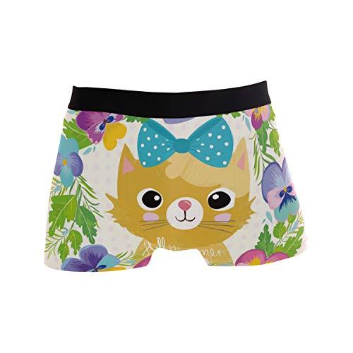 Cartoon-Katze mit bunten Blumen und Schleife, Boxershorts, Herren-Unterwäsche, Jungen, Stretch, atmungsaktiv, niedrige Taille, Größe S Gr. X-Large, mehrfarbig