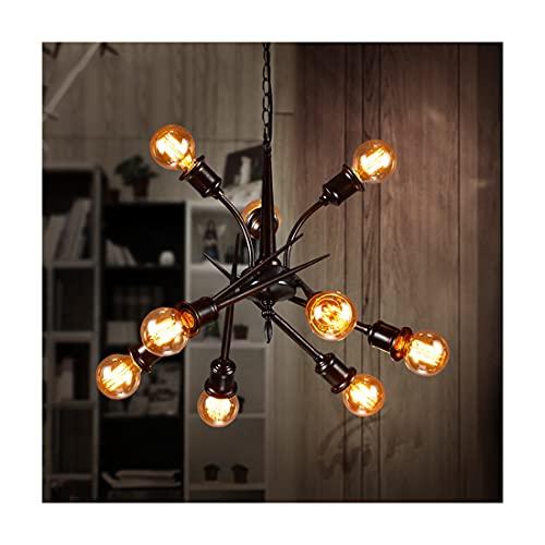Lámpara de araña Industrial, 9 Luces Vintage Lampara Colgante E27 Portalámparas Metal Decoración Iluminacion Altura Adjustable para Mesa de Comedor Loft Cocina Porche Restaurante