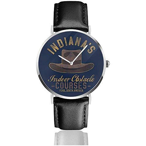 Indien Jones Indoor Obstacle Courses Relojes Reloj de Cuero de Cuarzo con Correa de Cuero Negra para Regalo de colección
