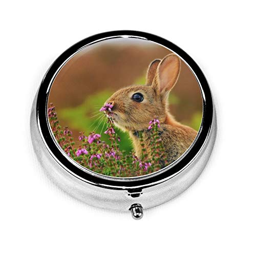 3 Compartment Pill Box Rabbit Grass Flowers Blur Luxury Travel Kit Storage Metal Round Silver Button Pill Dispenser Vitamins Fish Oil Supplements