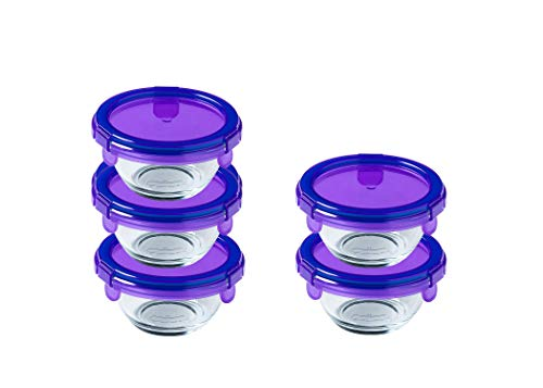 Pyrex® - My first Pyrex + - Lot de 5 pots ronds en verre pour bébé avec couvercles violets hermétiques et étanches - 0,2L - Sans BPA - Fabriqués en France