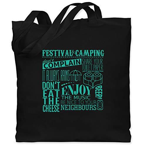 Shirtracer Festival - Festival camping lettering - Unisize - Schwarz - Statement - WM101 - Stoffbeutel aus Baumwolle Jutebeutel lange Henkel
