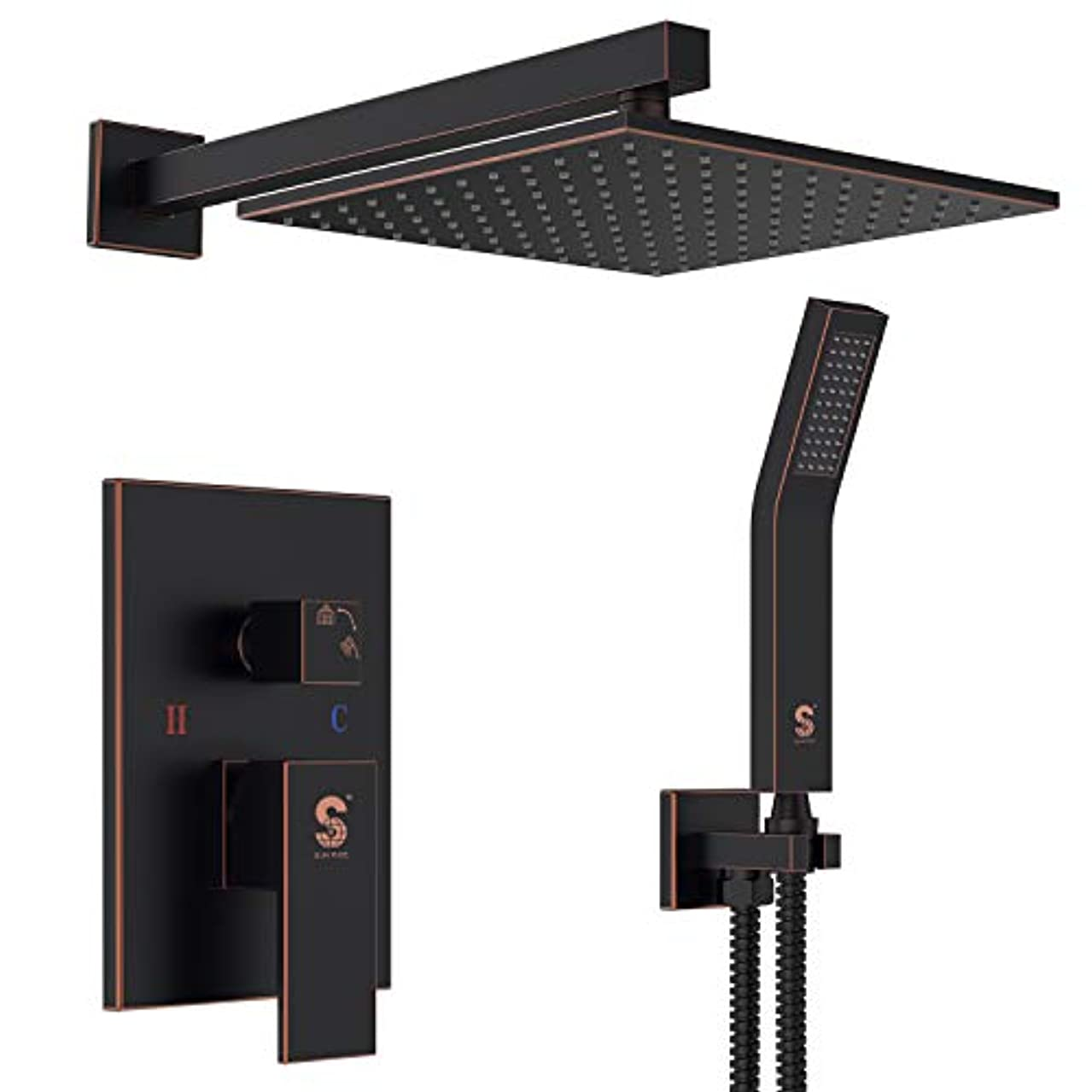SR SUN RISE Oil Rubbed Bronze Shower System 10 Inch Brass Bathroom Luxury Rain Mixer Shower Combo Set Wall Mounted Rainfall Shower Head System(Contain Shower faucet rough-in valve body and trim)